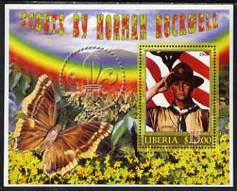 Liberia 2006 Scouts by Norman Rockwell #2 perf m/sheet with Butterfly, unmounted mint