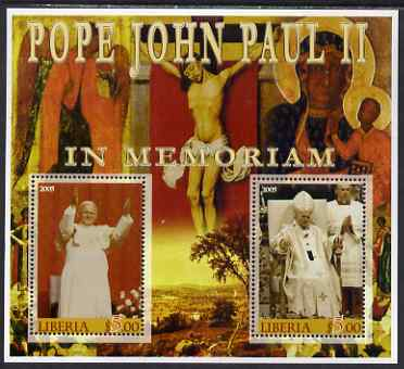 Liberia 2005 Pope John Paull II in Memoriam #02 perf sheetlet containing 2 values unmounted mint