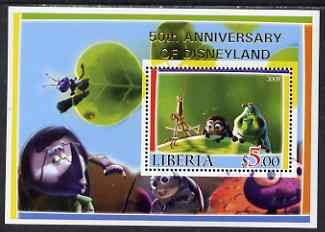 Liberia 2005 50th Anniversary of Disneyland overprint on Bugs life perf m/sheet #1 unmounted mint, stamps on insects, stamps on disney