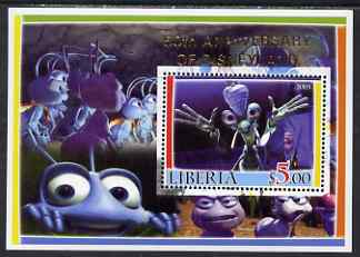 Liberia 2005 50th Anniversary of Disneyland overprint on Bugs life perf m/sheet #2 unmounted mint