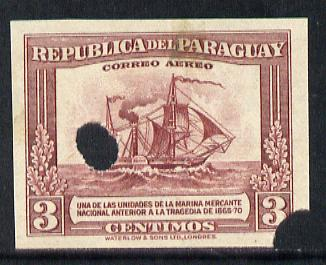 Paraguay 1944-45 Paddle Steamer 3c imperf proof with Waterlow & Sons security punch holes (some wrinkles) as SG 597, stamps on ships