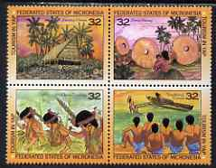 Micronesia 1995 Tourism in Yap se-tenant block of 4 unmounted mint, SG 461-4
