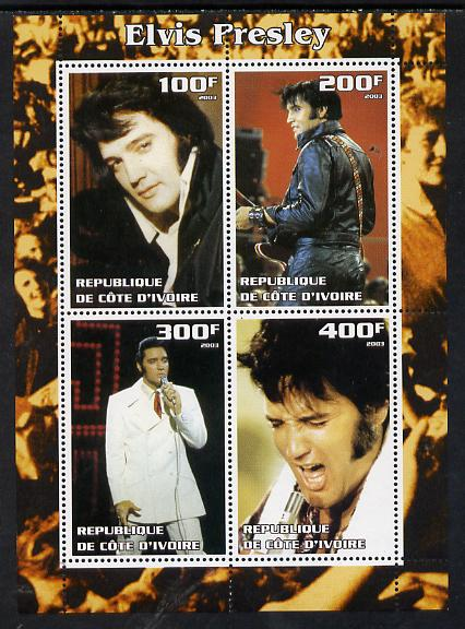 Ivory Coast 2003 Elvis Presley #3 perf sheetlet containing 4 values, unmounted mint