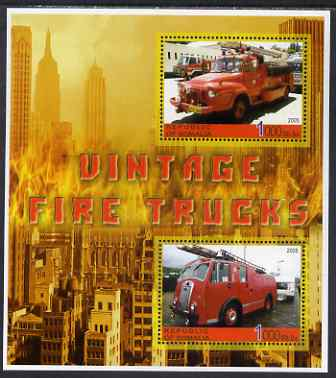 Somalia 2005 Vintage Fire Trucks #01 perf sheetlet containing 2 values unmounted mint
