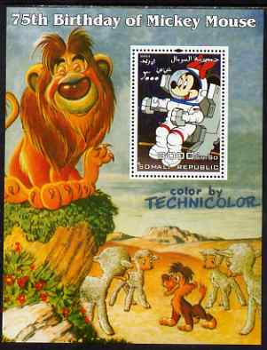 Somalia 2004 75th Birthday of Mickey Mouse #16 - Space & Lion perf m/sheet unmounted mint