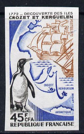 France 1972 Crozet Islands 90c (Penguin, Map, Ship) imperf from limited printing unmounted mint Yv 1704
