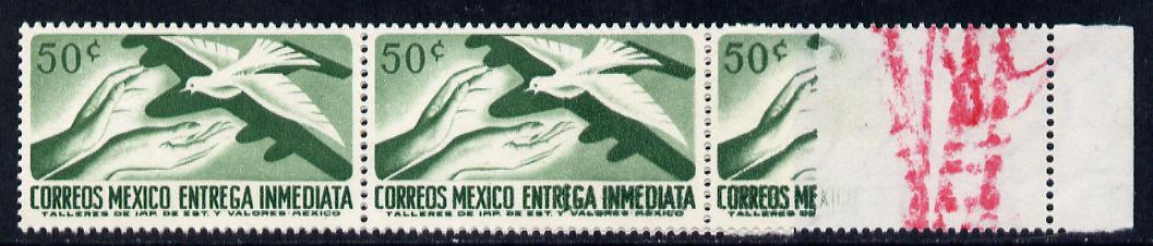 Mexico 1956 Express 50c green (Bird & Aeroplane) unmounted mint strip of 3, one stamp with spectacular dry print (60% completely missing) marked in red to be rejected and obviously missed by the checker