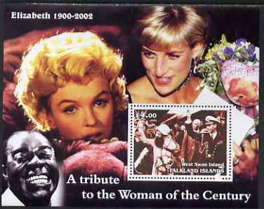 West Swan Island (Falkland Islands) 2002 A Tribute to the Woman of the Century #1 Queen Mother perf souvenir sheet unmounted mint (Also shows Marilyn, Diana & Satchmo)