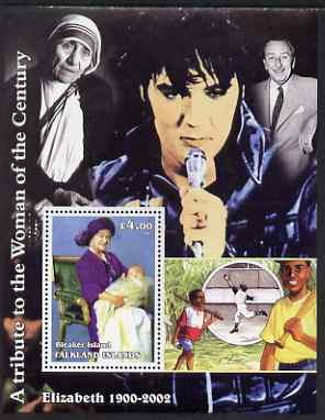 Bleaker Island (Falkland Islands) 2002 A Tribute to the Woman of the Century #1 Queen Mother perf souvenir sheet unmounted mint (Also shows Mother Teresa, Elvis, Walt Di...