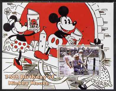 Somalia 2003 75th Birthday of Mickey Mouse #8 - Mickey & Minnie Mouse on See-saw perf s/sheet unmounted mint