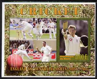 Benin 2006 Cricket (England v Australia Ashes series) imperf m/sheet #2 unmounted mint. Note this item is privately produced and is offered purely on its thematic appeal