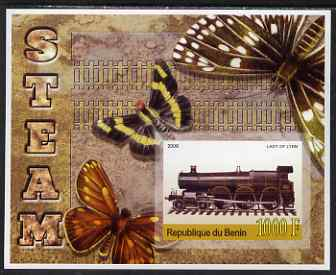 Benin 2006 Early Steam Locos #4 (Lady of Lynn) imperf m/sheet with Butterflies in background unmounted mint