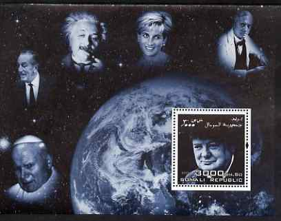 Somalia 2004 Personalities - Churchill perf m/sheet (with Diana, Pope, Einstein, Fleming & Disney in margin) unmounted mint
