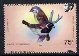 Lesotho 1988 Birds 75s Cape Sparrow showing fine 3mm shift of horiz perfs (Country name partly at top & bottom) unmounted mint as SG 802*