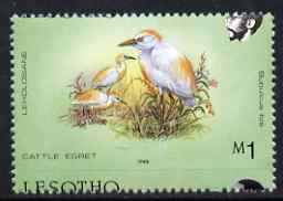 Lesotho 1988 Birds 1m Cattle Egret showing fine 3.5mm shift of horiz perfs (Country name mainly at bottom) unmounted mint as SG 803*