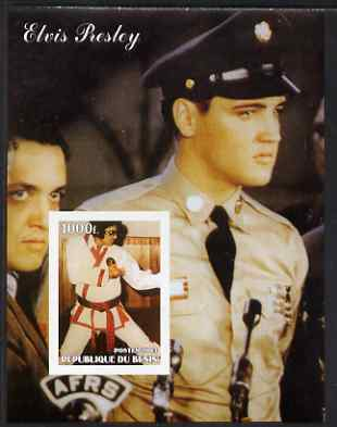 Benin 2003 Elvis Presley (in GI Uniform & Martial Arts) imperf m/sheet unmounted mint