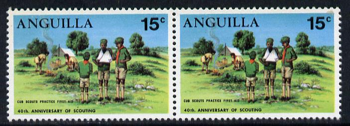 Anguilla 1970 Scouting 15c horiz pair, one stamp with