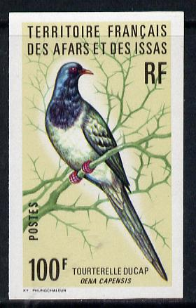 French Afars & Issas 1975 Birds 100f (Namaqua Dove) imperf from limited printing unmounted mint, as SG 653*