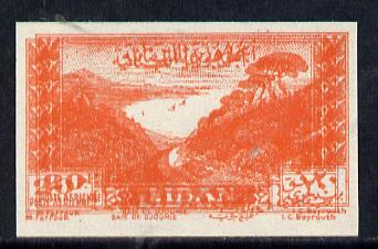 Lebanon 1947 Air 20p vermilion (Jounieh Bay) unmounted mint imperf proof (?) with fine double impression