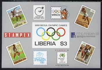 Liberia 1988 Seoul Olympic Games & Stamp Exhibition imperf m/sheet unmounted mint SG MS1686