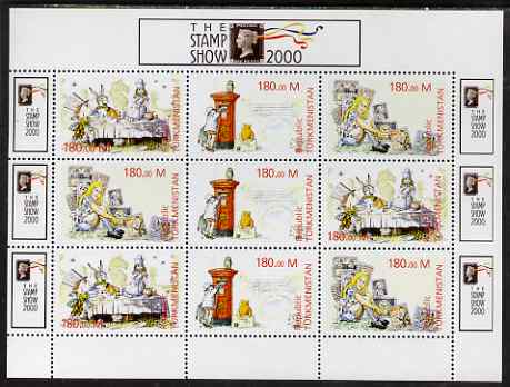 Turkmenistan 2000 Stamp-Show 2000 perf sheetlet containing 9 values (3 sets of 3 Childrens Stories) unmounted mint