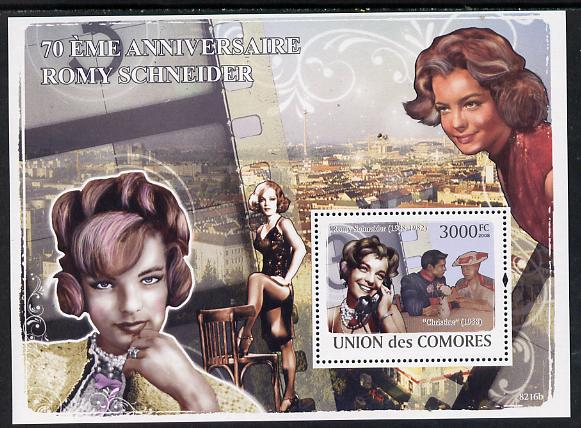 Comoro Islands 2008 70th Birth Anniversary of Romy Schneider (actress) perf s/sheet unmounted mint