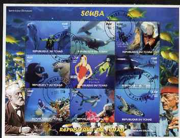 Chad 2008 Scuba Diving perf sheetlet containing 9 values fine cto used