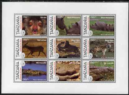 Tanzania 1995 The Sierra Club perf sheetlet containing 9 values unmounted mint