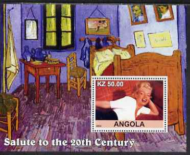 Angola 2002 Salute to the 20th Century #07 perf s/sheet - Marilyn & Painting by Van Gogh, unmounted mint