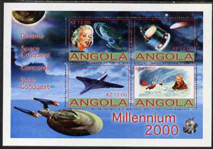 Angola 2000 Millennium perf sheetlet containing 4 values for Cinema, Concorde, Space & Polar Conquests unmounted mint