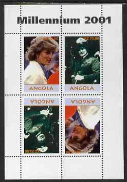 Angola 2001 Millennium series - Princess Diana & Baden Powell perf sheetlet of 4 (2 tete-beche pairs) unmounted mint. Note this item is privately produced and is offered purely on its thematic appeal