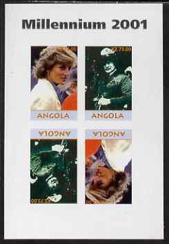 Angola 2001 Millennium series - Princess Diana & Baden Powell imperf sheetlet of 4 (2 tete-beche pairs) unmounted mint. Note this item is privately produced and is offered purely on its thematic appeal