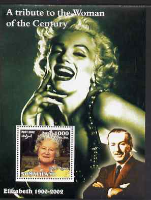 Somaliland 2002 A Tribute to the Woman of the Century #09 - The Queen Mother perf m/sheet also showing Walt Disney & Marilyn Monroe, unmounted mint