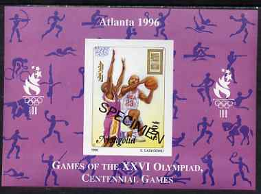 Mongolia 1996 Atlanta Olympics 500t (Basketball) imperf m/sheet opt'd SPECIMEN from limited printing, as SG 2557a unmounted mint