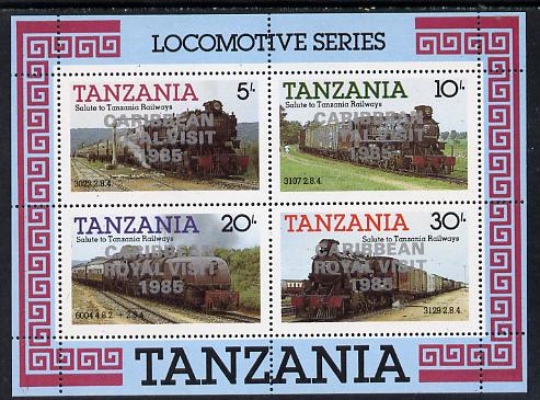 Tanzania 1985 Locomotives perf miniature sheet with 'Caribbean Royal Visit 1985' opt in silver (unissued) unmounted mint