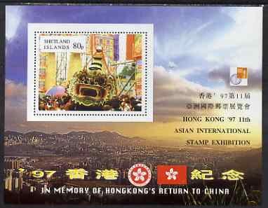 Shetland Islands 1997 Hong Kong Back to China perf m/sheet (80p value) with Hong Kong 97 Stamp Exhibition imprint unmounted mint