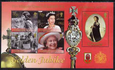 Gibraltar 2002 Golden Jubilee perf sheetlet containing complete set of 5 values unmounted mint, SG MS 1001