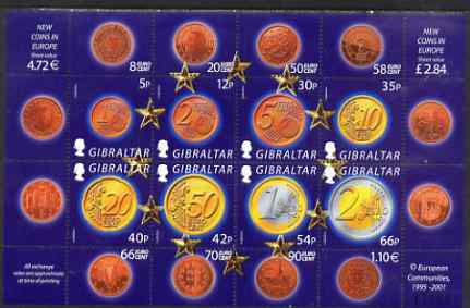 Gibraltar 2002 Introduction of Euro Currency perf sheetlet containing complete set of 8 values unmounted mint, SG MS 994