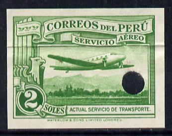 Peru 1937 Pictorial 2 sol (Mail Plane) imperf colour proof in green with Waterlow & Sons security punch hole (as SG 606)