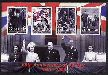 Gibraltar 2005 60th Anniversary of VE-Day perf sheetlet containing complete set of 4 values unmounted mint, SG MS 1133