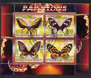 Djibouti 2008 Butterflies #1 perf sheetlet containing 4 values fine cto used