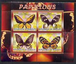 Djibouti 2008 Butterflies #1 perf sheetlet containing 4 values unmounted mint