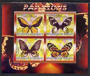 Djibouti 2008 Butterflies #1 imperf sheetlet containing 4 values unmounted mint
