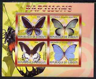 Djibouti 2008 Butterflies #2 imperf sheetlet containing 4 values unmounted mint