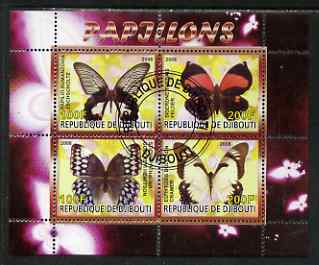 Djibouti 2008 Butterflies #3 perf sheetlet containing 4 values fine cto used