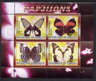 Djibouti 2008 Butterflies #3 perf sheetlet containing 4 values unmounted mint
