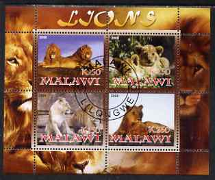 Malawi 2008 Lions perf sheetlet containing 4 values fine cto used
