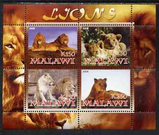 Malawi 2008 Lions perf sheetlet containing 4 values unmounted mint
