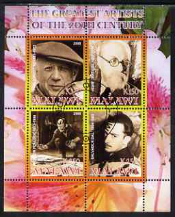 Malawi 2008 Great Artists of the 20th Century perf sheetlet containing 4 values fine cto used