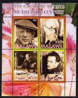 Malawi 2008 Great Artists of the 20th Century perf sheetlet containing 4 values unmounted mint